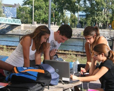 Students at Lachine Canal