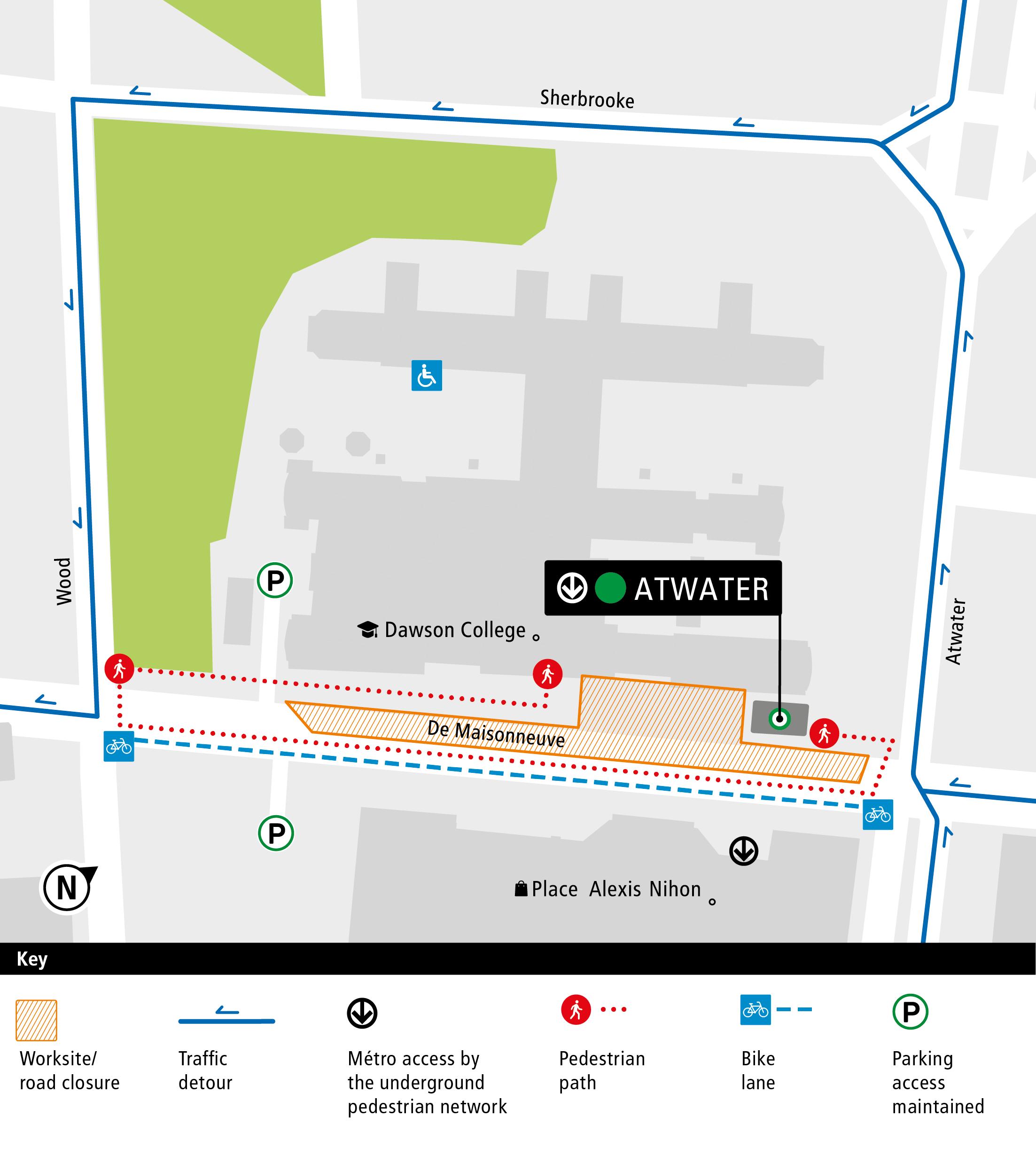De Maisonneuve Boulevard Construction Map 2019-2021 English