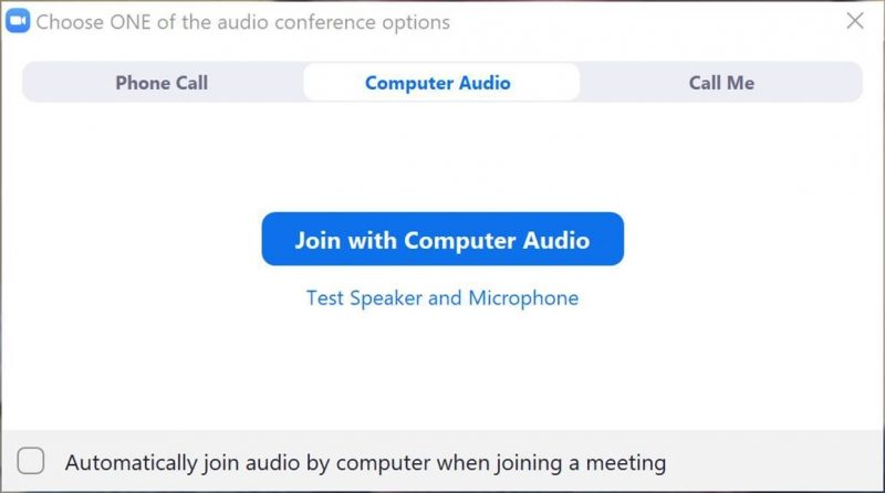 Zoom join computer audio