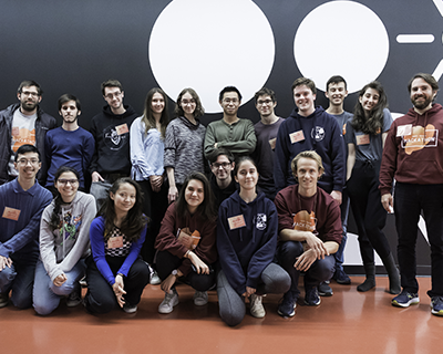 The S.P.A.C.E. team with mentors and organizers during the McGill Physics Hackathon at MILA. Credit: Raffles Zhu Photography