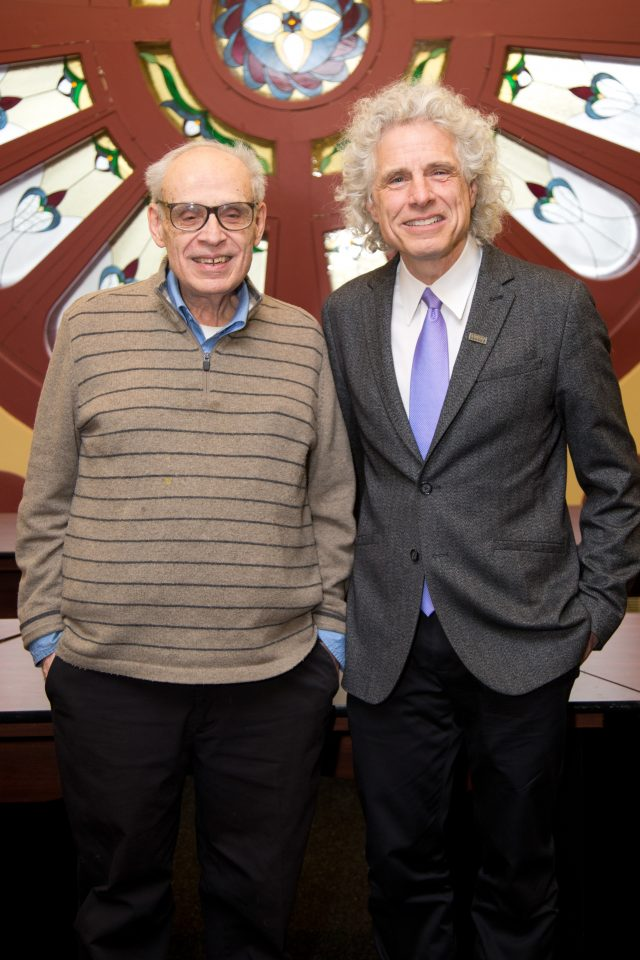 Ken Milkman and Steven Pinker at Dawson College Feb 6, 2019
