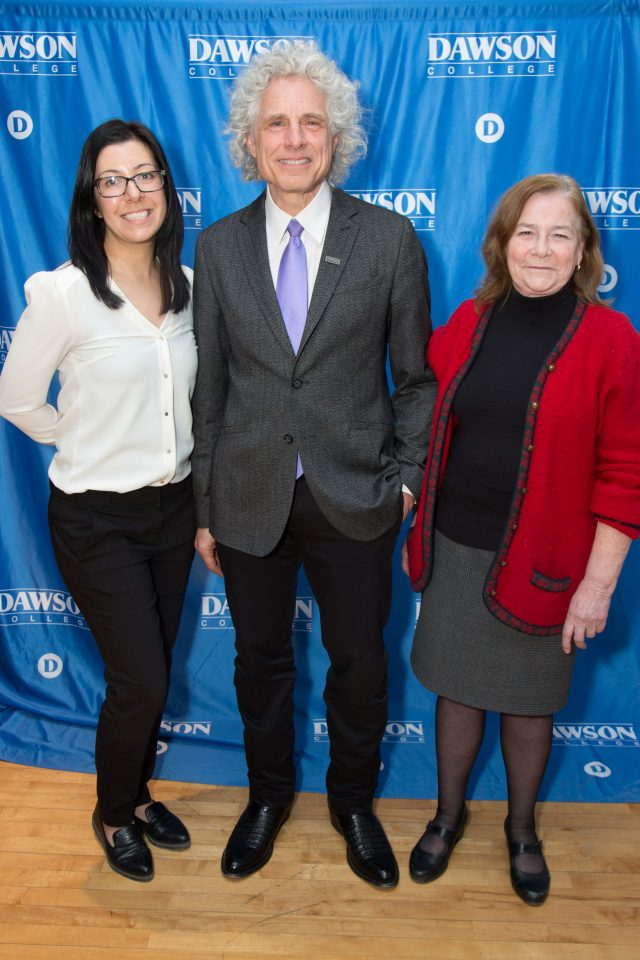 Nancy Rebelo and Vivien Watson, organizers of Dawson College Social Science Week, with Steven Pinker Feb 6 2019