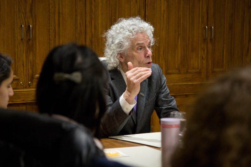 Steven Pinker responds to question at Q & A with students at Dawson College Feb 6 2019