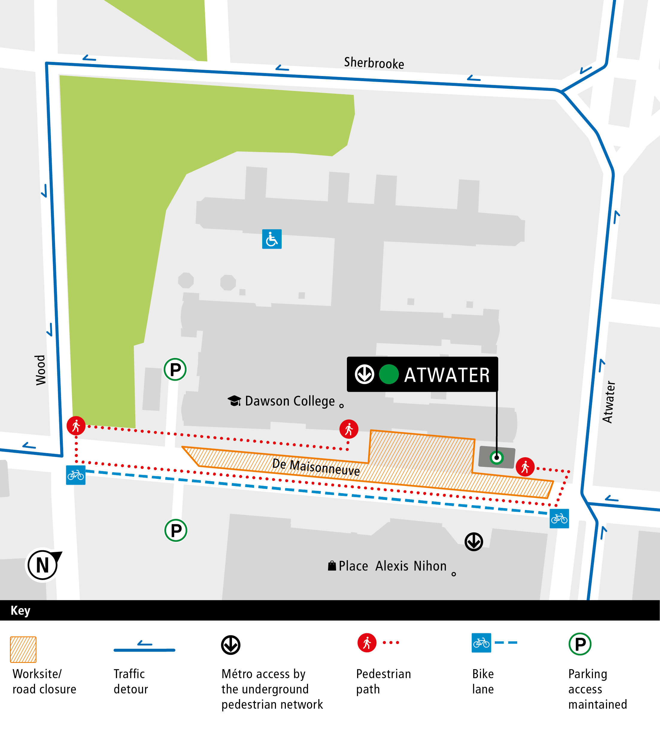 De Maisonneuve Boulevard Construction Map 2019-2021 English