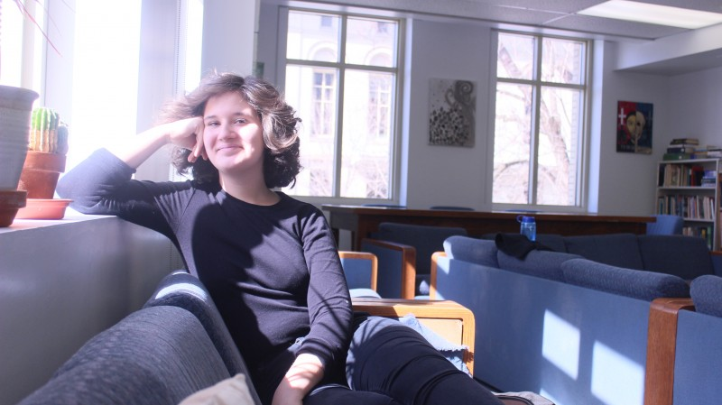 Student Catherine Sitting in Reflections
