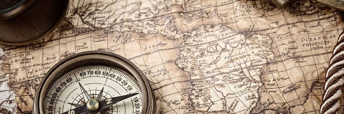 Antique map with compass