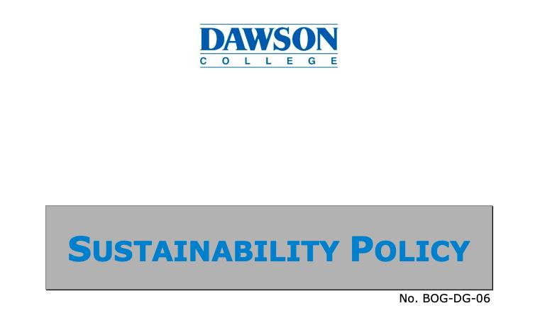 Sustainable Dawson Policy