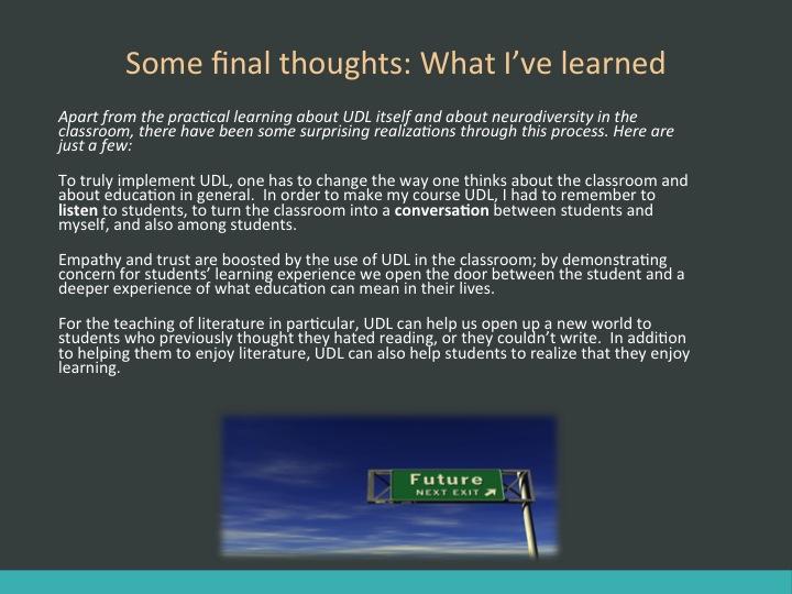 Final slide from R. Million's PPT