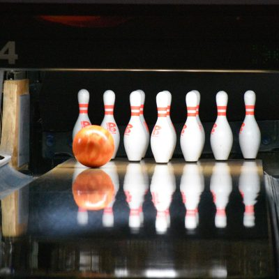 Ball of bowling with the pins