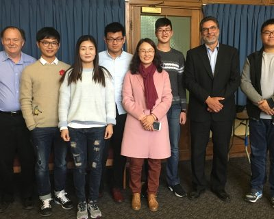 (From Left) Bryn Hughes (Dawson Mechanical Engineering Faculty),  Nantong Students Wang Chi, Liang Yang, Ding Zhuangzhuang, Mei Hua (Nantong Civil Engineering Faculty), Wang Zequn, Ray Bourgeois (Science, Medical Studies and Engineering Sector Dean, Dawson College) and Wang Zhaoxiong.
