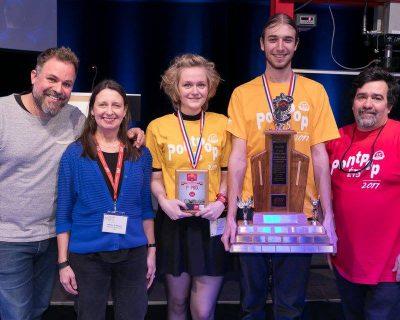Dawson College's winning team at PontPop